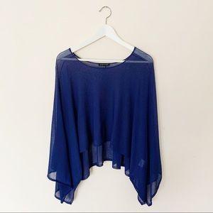 Eileen Fisher Gauzy Blue Poncho Top Coverup Sz L